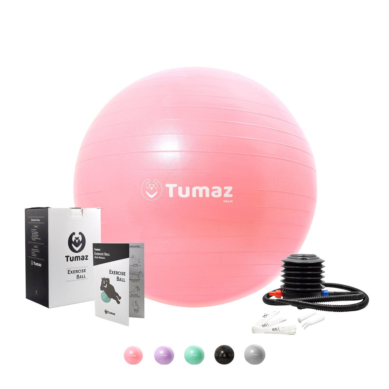 Tumaz Exercise Ball Quick Pump, ANTI BURST/EXTRA THICK/HEAVY DUTY, Great Ball Chair, Birth ball, Balance ball, Swiss ball, Pilates, Yoga more