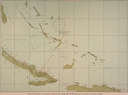 Amazon.com: Columbus Map 1492 Ntrack Of Christopher Columbus ... on