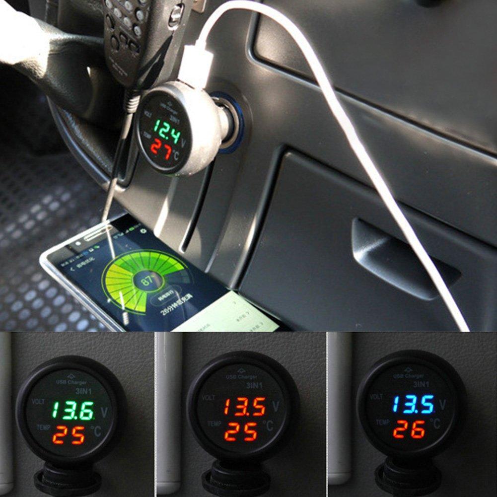 thermom/ètre num/érique LCD 3 en 1 testeur de temp/érature SparY Voltm/ètre de Voiture testeur de Tension de la Batterie avec Chargeur de Voiture USB