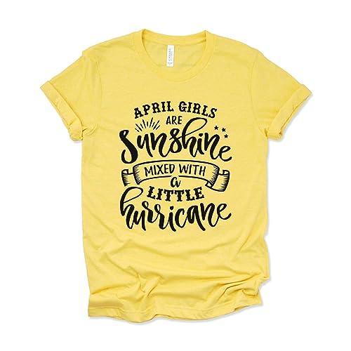 4e458437 Amazon.com: April Birthday Shirt Womens Graphic Tees April Girls are  Sunshine Mixed with a Little Hurricane Shirt: Handmade