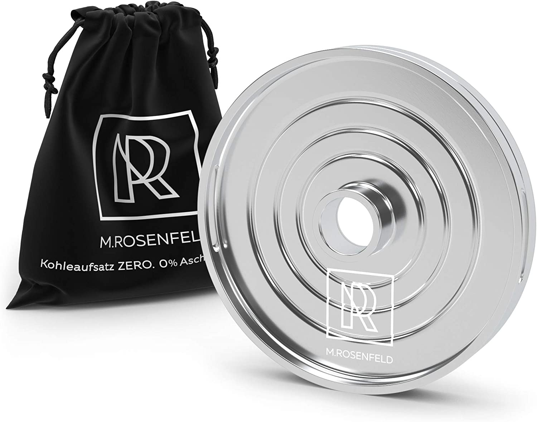 M. ROSENFELD Gestor Calor de Cachimba Zero – Reemplazo Innovador de Papel de Aluminio para hasta 4 Cubos de Carbon Shisha – Calor Uniforme – 0% de Cenizas en Tabaco – Tamiz de Carbono Universal.