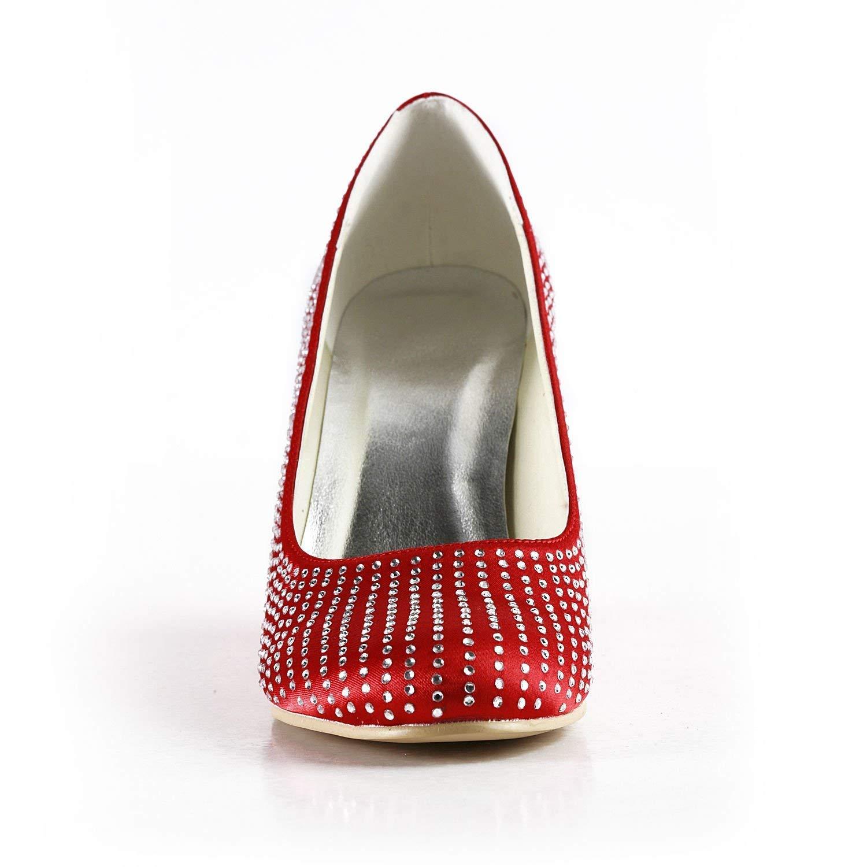 ZHRUI Damen Kristalle Wedge rot rot rot Satin Hochzeit Abend Prom Pumps Schuhe UK 8 (Farbe   -, Größe   -) f8f992