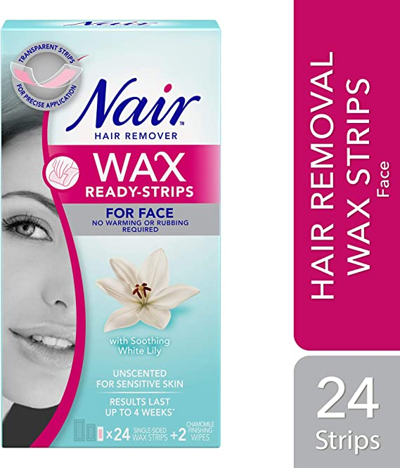 Nair Wax Ready Strips For Face Unscented For Sensitive Skin With