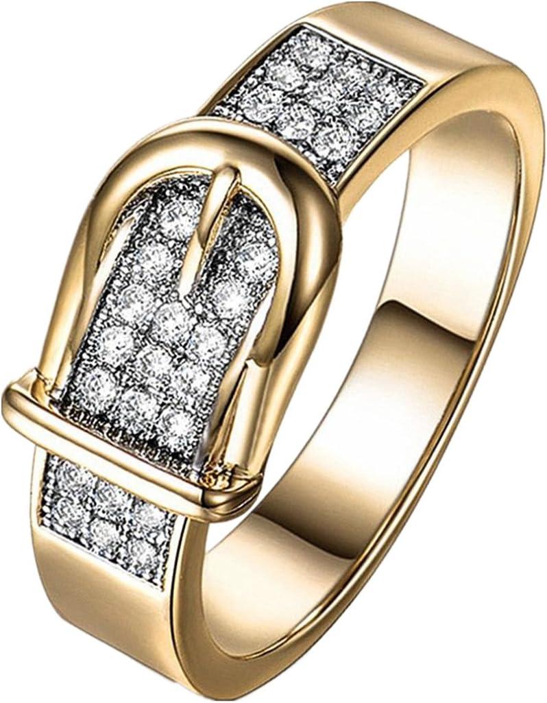 DAYLIN Moda Cinturón Anillos Zirconia Ring Cristal Anillo Joyería Regalo Para Hombre y Mujer (Oro, 7): Amazon.es: Iluminación