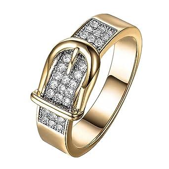 9235e4f8356c DAYLIN Moda Cinturón Anillos Zirconia Ring Cristal Anillo Joyería Regalo  Para Hombre y Mujer (Oro