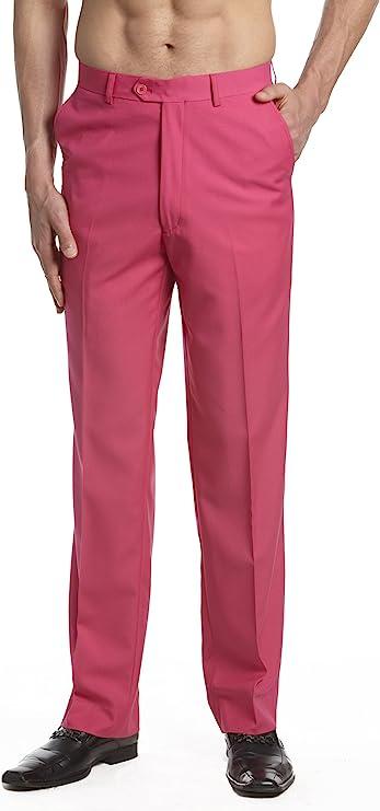 60s – 70s Mens Bell Bottom Jeans, Flares, Disco Pants CONCITOR Mens Dress Pants Trousers Flat Front Slacks Solid HOT PINK Color  AT vintagedancer.com