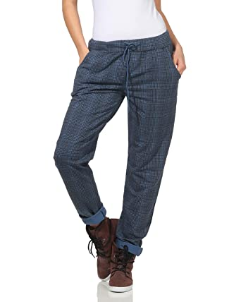 ZARMEXX Pantalones de Mujer Pantalones de chándal de algodón Plaid ...