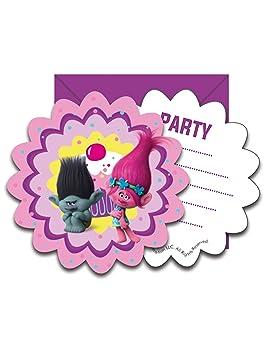 COOLMP Lote de 6 Tarjetas de invitación + Sobres Trolls ...