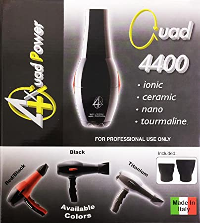 Amazon.com: Quad Power 4400 Ceramic & Ionic Professional Hair Dryer, Made in Italy (Black): Beauty