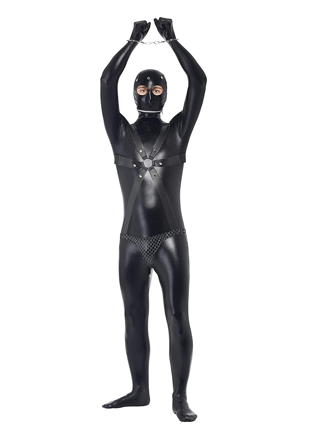 Smiffy's Men's Gimp Costume Bodysuit with Straps and Chainmail Pants RH Smith & Sons LTD