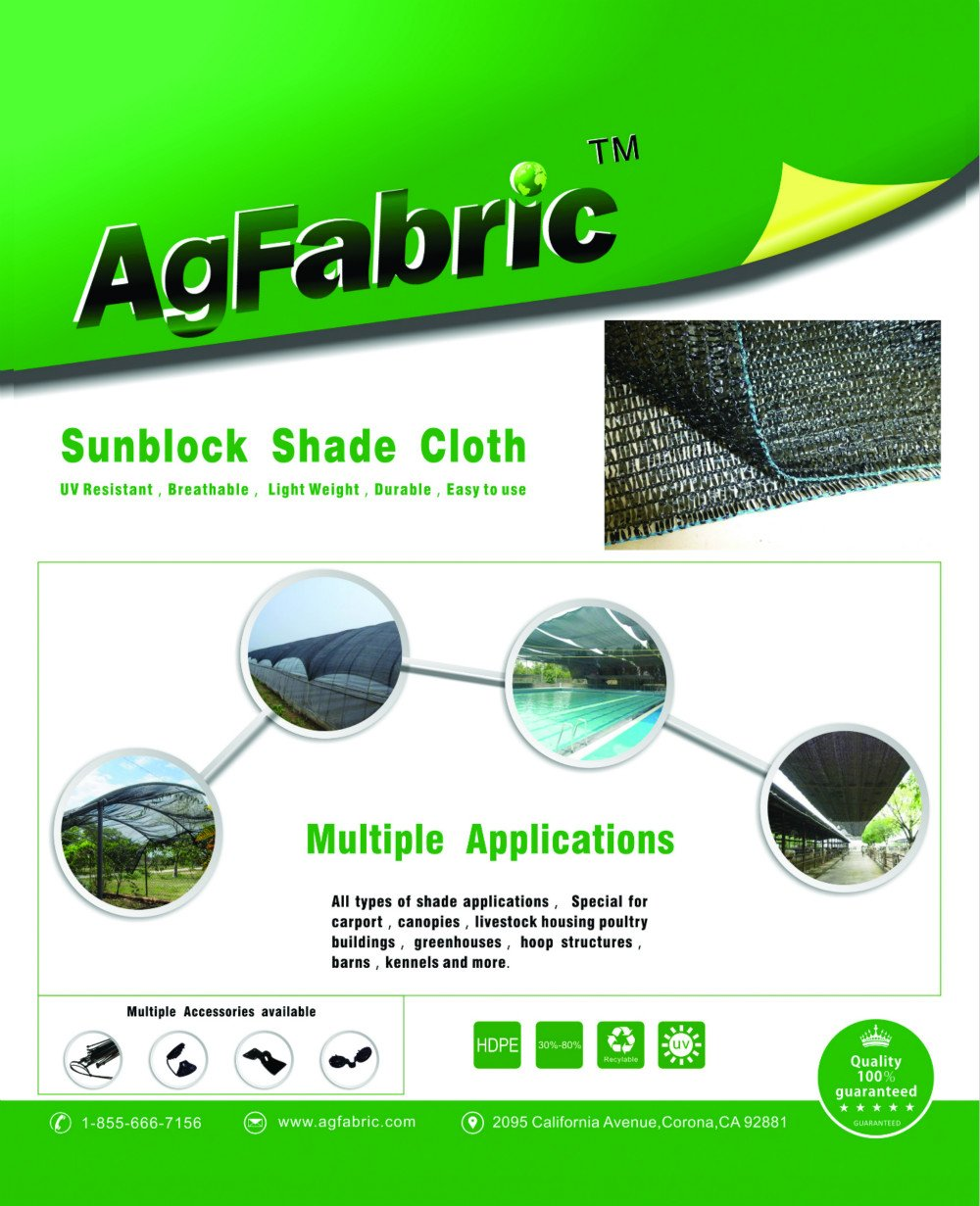 Agfabric 30% Sunblock Shade Cloth Cover with Clips for Plants 6.5' X 50', Black by Agfabric (Image #8)