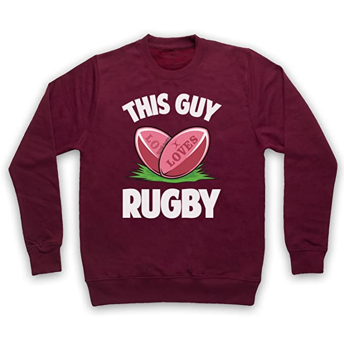 My Icon Art & Clothing This Guy Loves Rugby Rugby Slogan Adultos Sudadera: Amazon.es: Ropa y accesorios