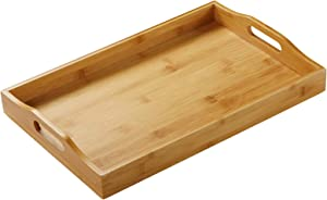 BOMSI Rectangle Bamboo Butler Serving Tray with Handle Serving Tray Bamboo Tray with Handles Great for Breakfast Trays Tea Tray Or Any Food Tray Good for Parties or Bed Tray 2 Pack (1PACK)