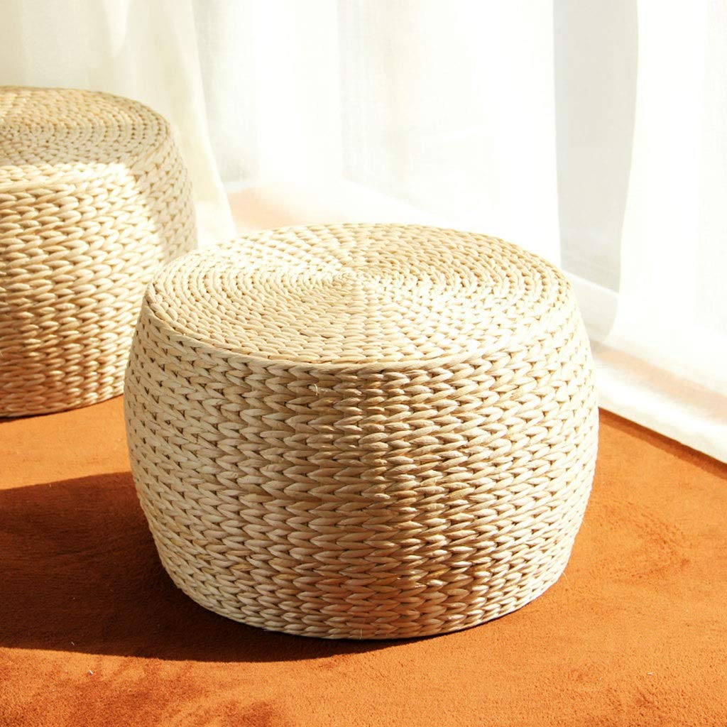 RXY-Wicker chair Straw Living Room Coffee Table Sitting Stool, Thick Straw Tuft Cushion, Bay Window Tatami Round Stool (Size : 31x22cm)