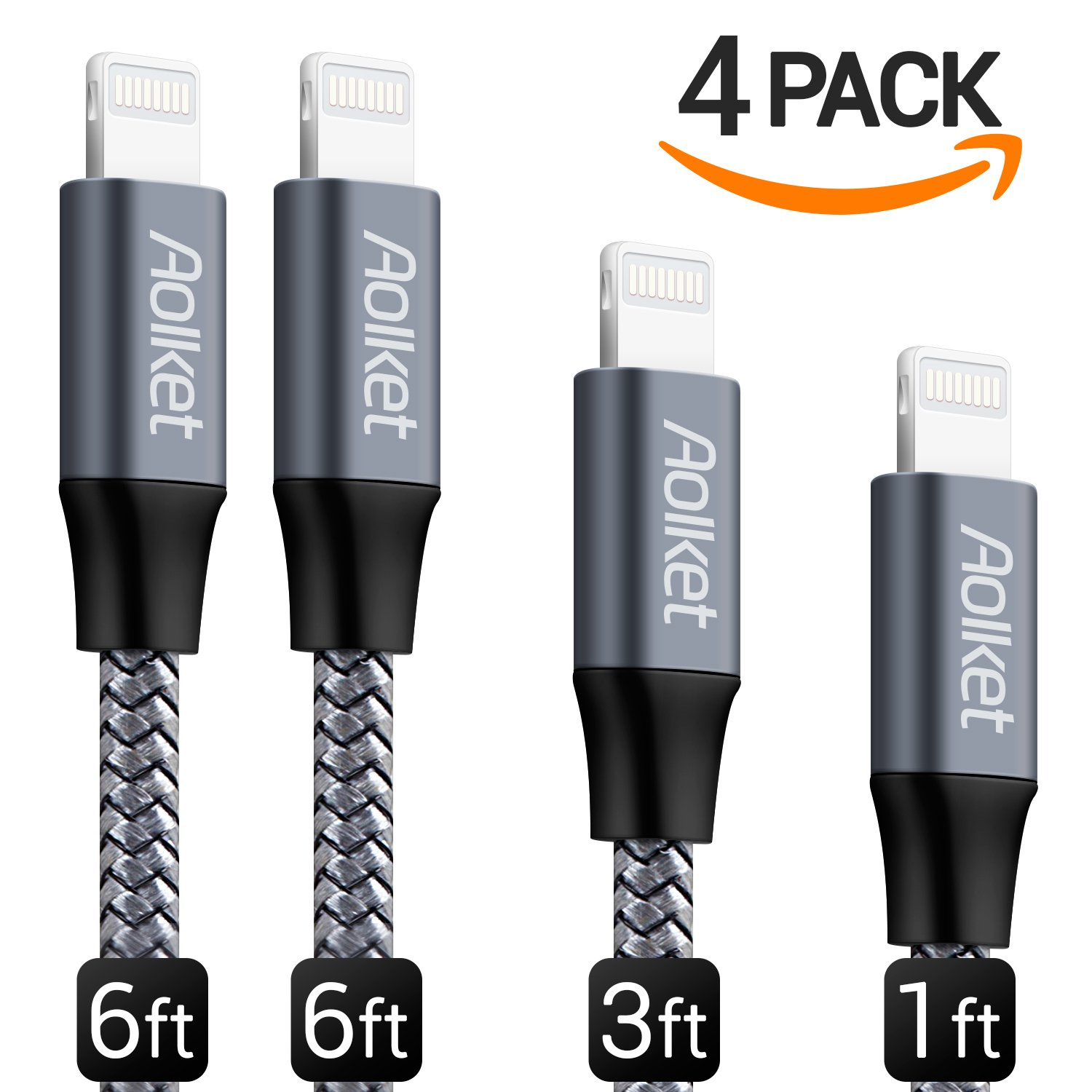 Amazon.com: Lightning Cable, Aolket iPhone Charger 4Pack Lightning ...