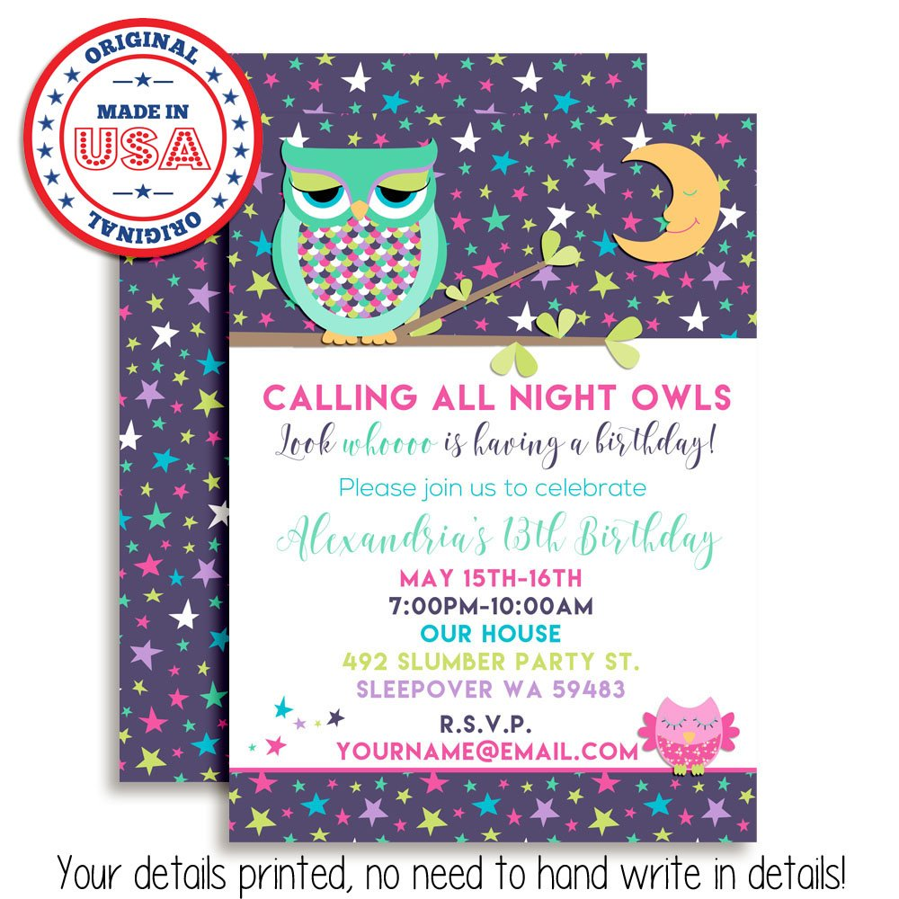 Amazon Night Owl Sleepover Slumber Party Custom Personalized Birthday Invitations Twenty 5x7 Cards With 20 White Envelopes By AmandaCreation Toys