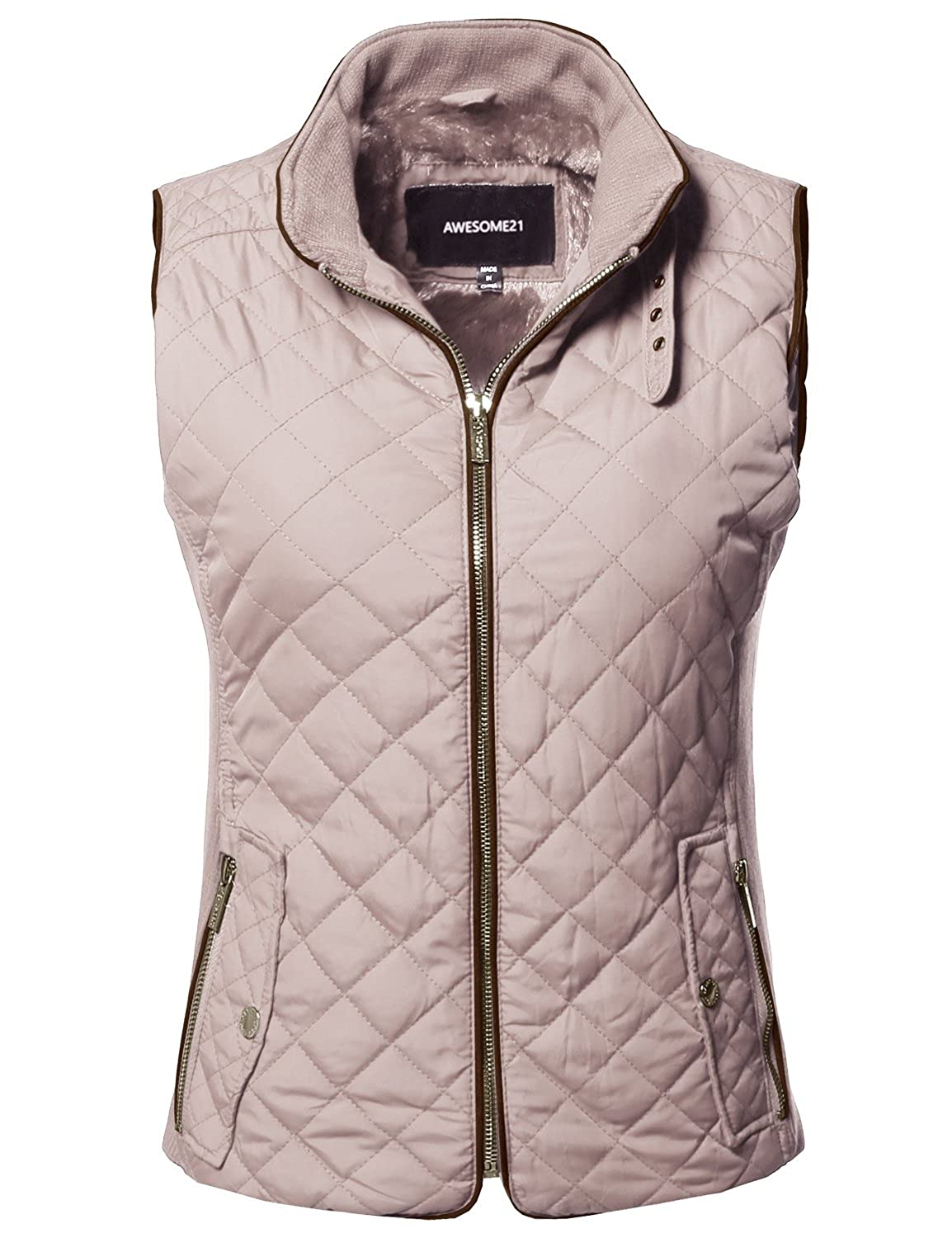 Awesome21 Women's Lightweight Quilted Zipper Snap Button Closure Padding Vest