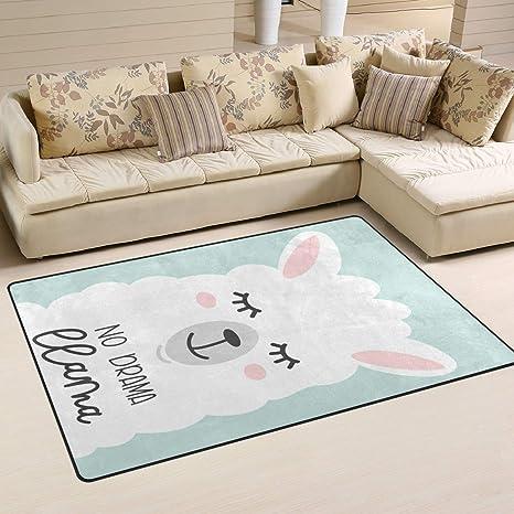 Alaza Non Slip Area Rugs Home Decor No Drama Cute Llama Floor Mat Living Room Bedroom Carpets Doormats 31 X 20 Inches