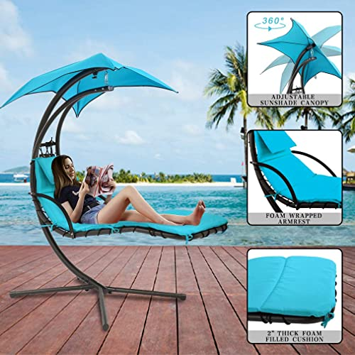 FDW Patio Chair Hanging Chaise Lounger Chair Floating Chaise Canopy Swing Lounge Chair Hammock Arc Stand