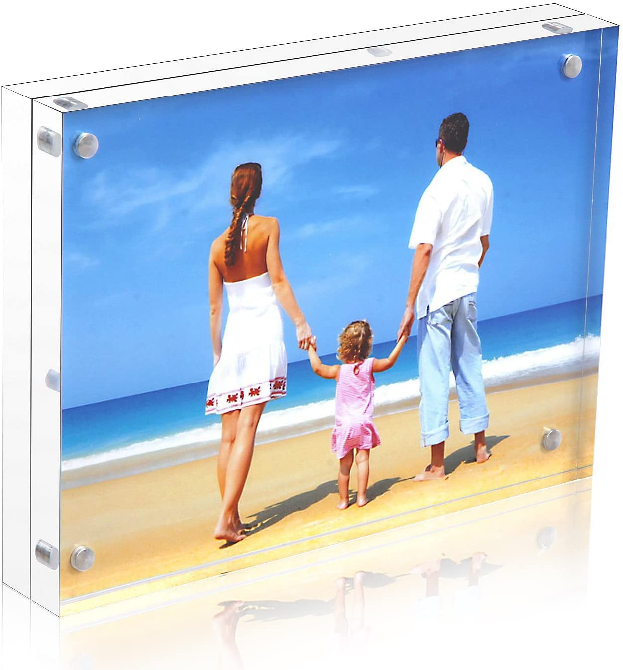 NIUBEE Acrylic Picture Frame 5x7, 20% Thicker Block Clear Double Sided Acrylic Photo Frames Frameless Desktop Display with Gift Box Package