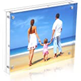 Niubee Acrylic Picture Frame 5x7, 20% Thicker Block Clear Double Sided Acrylic Photo Frames Frameless Desktop Display with Gift Box Package (24mm Thickness)