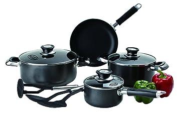 Imperial Home antiadherente utensilios de cocina juegos – 10 pc negro ollas y sartenes Set PTFE
