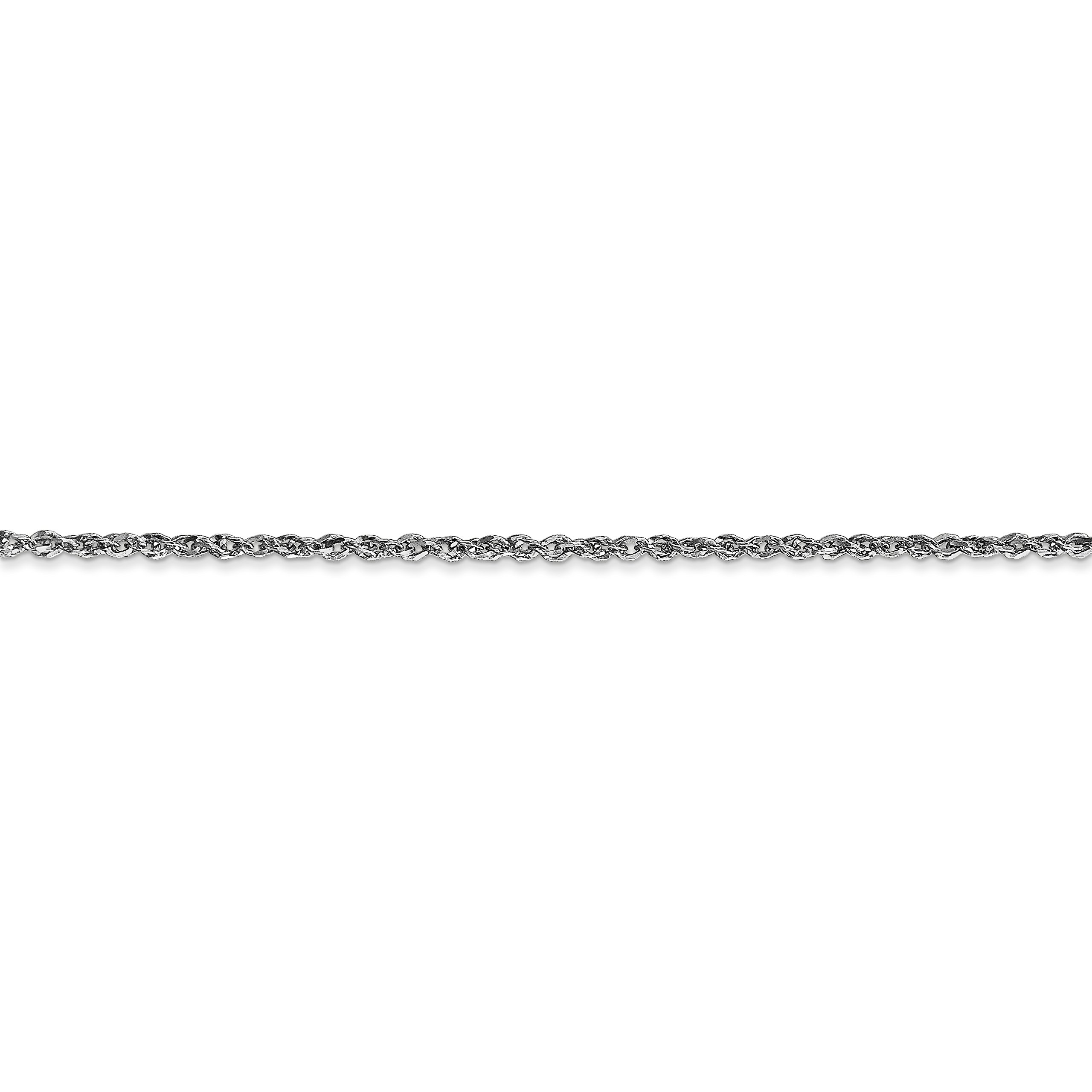 ICE CARATS 10k White Gold 1.7mm Ropa Chain Anklet Ankle Beach Bracelet 10 Inch Fine Jewelry Gift Set For Women Heart