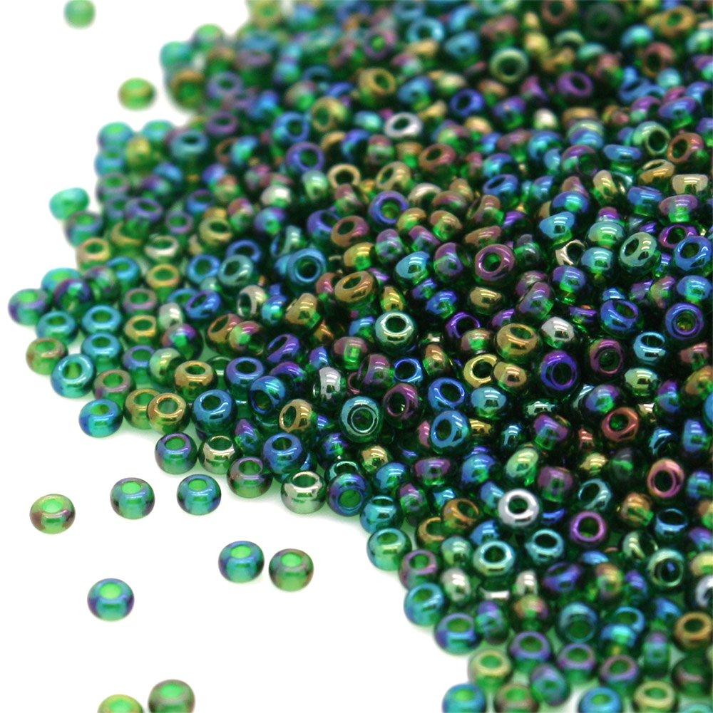 PRECIOSA Beads Unlimited Rainbow Verde Esmeralda Checa Cristal rocalla//Semillas 11//0-pack de 100/G