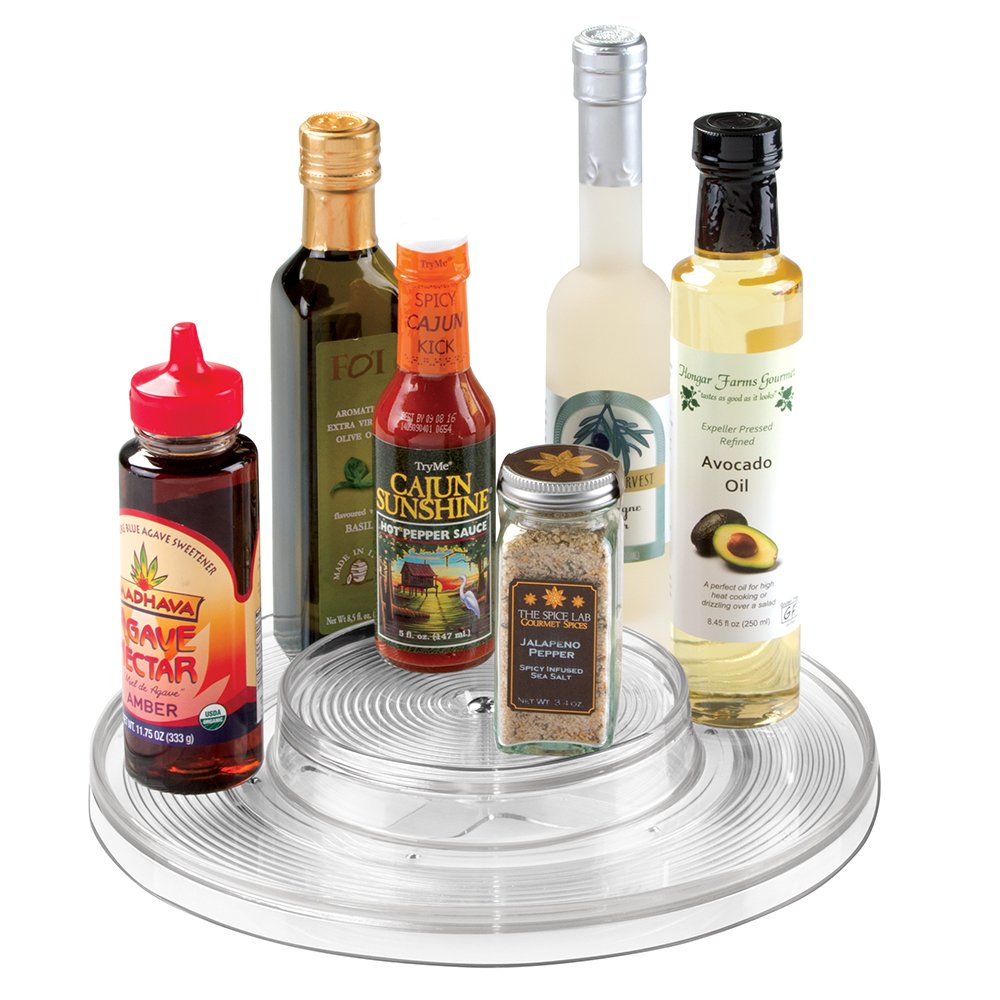 mDesign Plastic Spinning Two Tier Lazy Susan Turntable Food Storage Bin - Rotating Organizer for Kitchen Pantry, Cabinet, Refrigerator or Freezer - 11'' Diameter, Clear