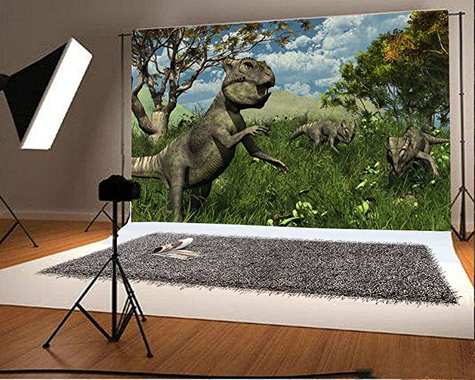 AOFOTO 5x3ft Ancient Jurassic World Backdrop Wild Foraging Dinosaur in Jungle Grass Old Forest Mountains Photography Background Kids Birthday Party Decoration Vinyl Wallpaper Photo Studio Props