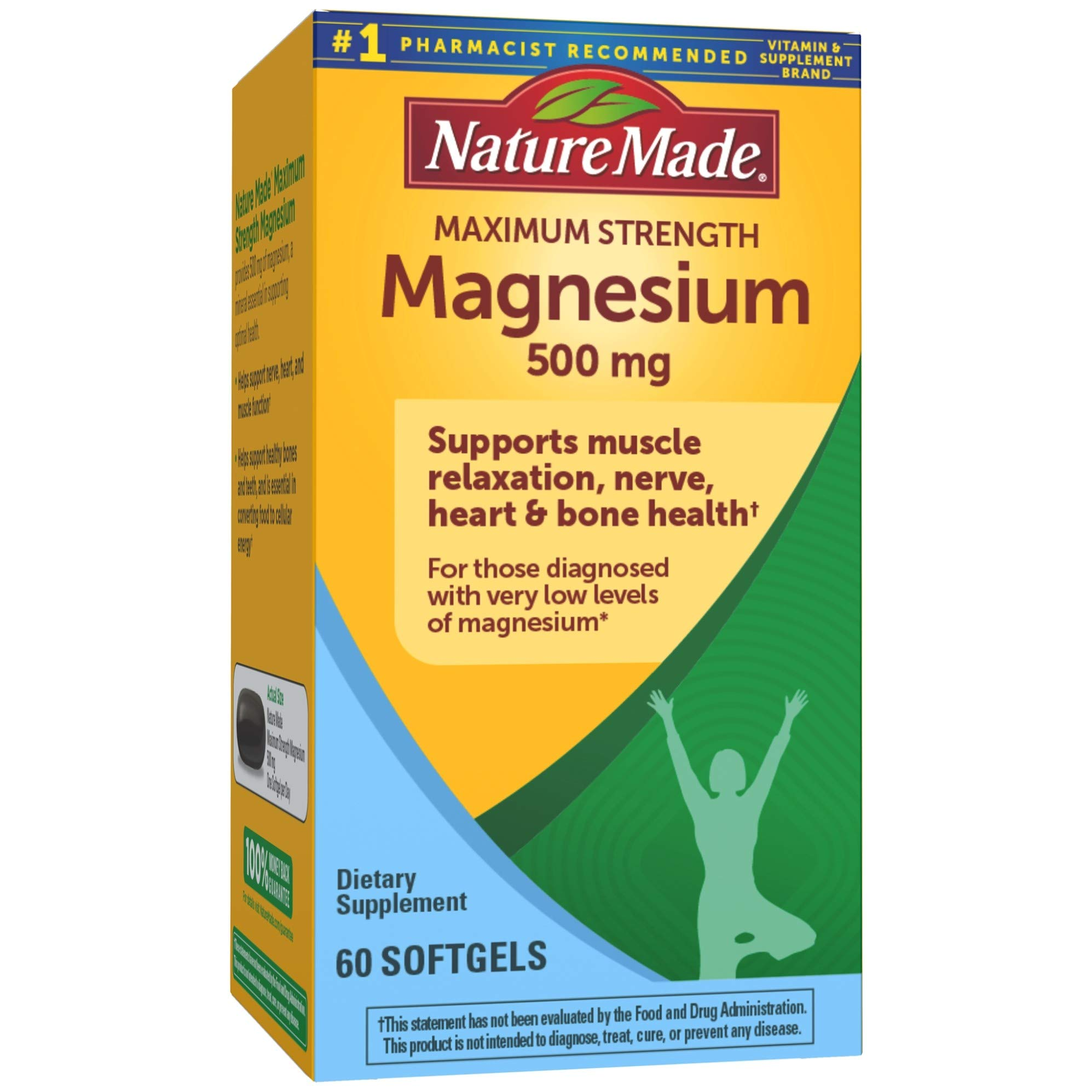 Nature Made Maximum Strength Magnesium Oxide 500 mg Softgels, 60 Count for Nutritional Support