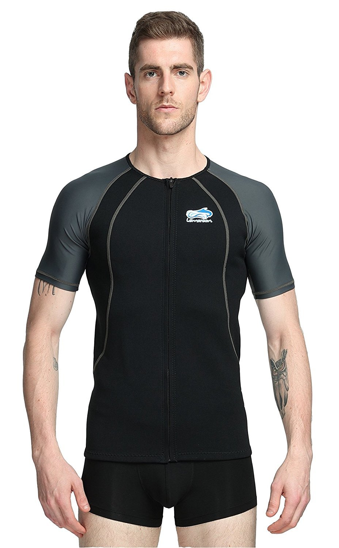 f91715ce79 Amazon.com  Lemorecn Wetsuits 1.5mm Neoprene Rash Guard for Men and Women  Scuba Diving Short Sleeve Shirt  Sports   Outdoors