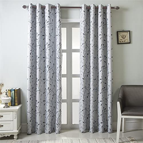 GYROHOME Floral Blackout Curtain Grommet Top Thermal Insulated Room Darkening Engery Saving Drape Noise Reducing No Formaldehyde,Sold in Pair 2 Panels
