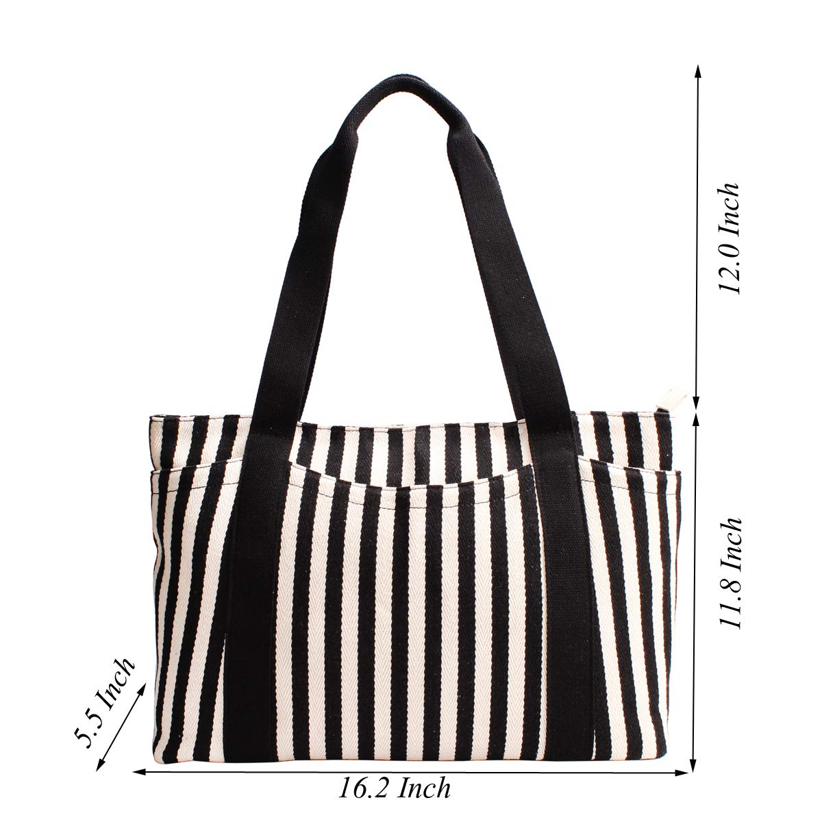 Canvas Tote Bag with Multiple Pocket/Zipper Closure Sholuder Bag/Travel Bag for Weekend/7 Pocket/Perfect Bag for Gift by sornean (Image #6)