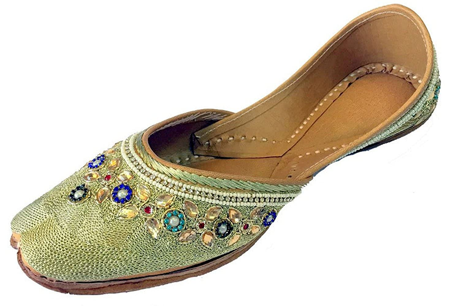 Step n Style Women Gold Kundan Work & Zari Punjabi Jutti Khussa Shoes Pumps DD153