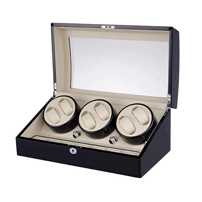 Amazon.com: MIRANQAN Luxury Automatic Display Box Case 8+9 Watch Winder - 4 Mode Timer Function 100% Handmade [Wood Shell + Leather Pillow + Piano Paint + ...