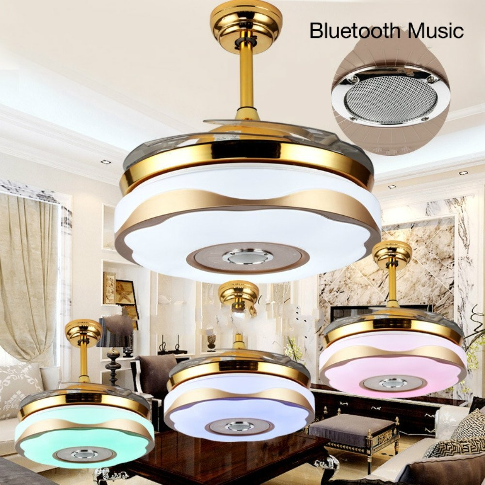 Lighting Groups Bluetooth Music Invisible Ceiling Fan Lamp LED Ceiling Fan Chandelier with Remote Contror, Adjustable Lighting, Adjustable Speed, Modern Style For Home (42 Inch, Gold)