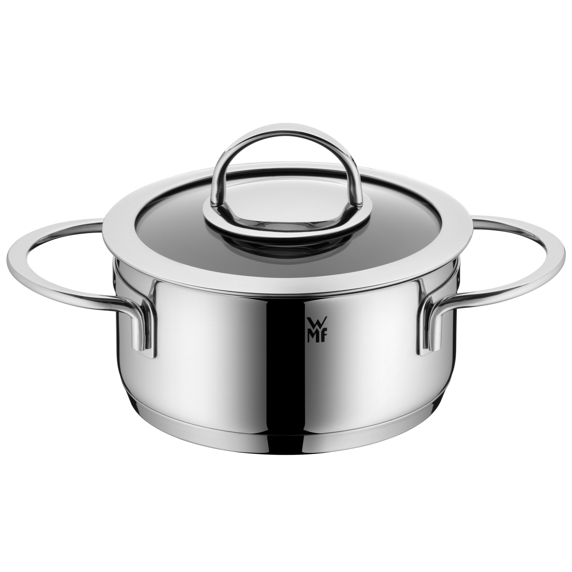 WMF Pot Ø 16 cm Approx. 1.4L Vignola Coated Glass Lid Cromargan Stainless Steel Polished Suitable for Induction Hobs Dishwasher-Safe