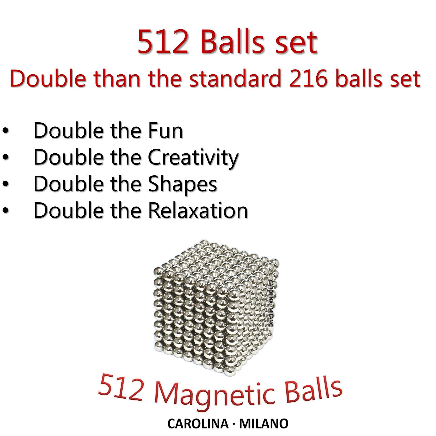 512 pieces Large 5mm Magnetic Balls Building Blocks Sculpture Magnets Educational game Office Magnet Toy Intelligence Development Stress Relief Imagination gift family (set of 216pcs x2 + 80 balls) by CAROLINA MILANO (Image #2)