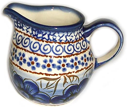 Polish Pottery Creamer Pitcher Evas Collection Blue Sky Meadow Creamers