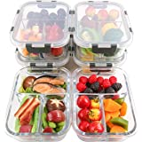 [6-Packs] Glass Meal Prep Containers 3 Compartment with Lids, Glass Lunch Containers,Food Storage Lunch Box,Bento Box,BPA-Free, Microwave, Oven, Freezer, Dishwasher Safe (36 oz)