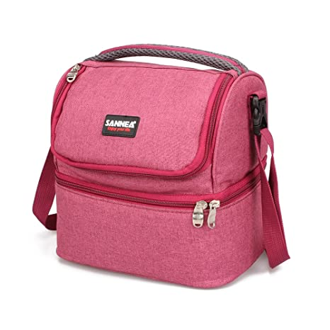 Bolsa de refrigeración SANNE, suave con bolsa de transporte rígida, para comida, poliéster, Rojo, 7Liters(7.9