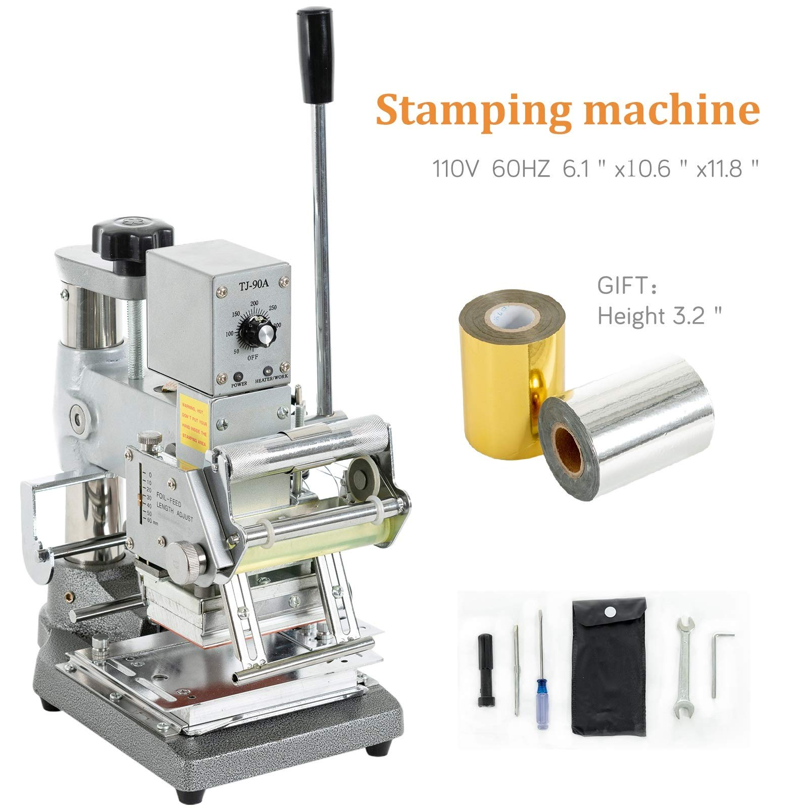 SUNCOO Hot Foil Stamping Machine 2.4 Inches x 3.5 Inches Bronzing Machine Embossing Machine Printing Logo for PVC Card, Credit Card with Foil Paper