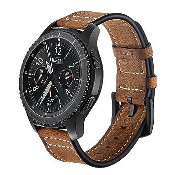 Elobeth - Correa para reloj Samsung Galaxy Gear S3 Classic y Frontier, 22 mm, cierre con hebilla , color negro 1