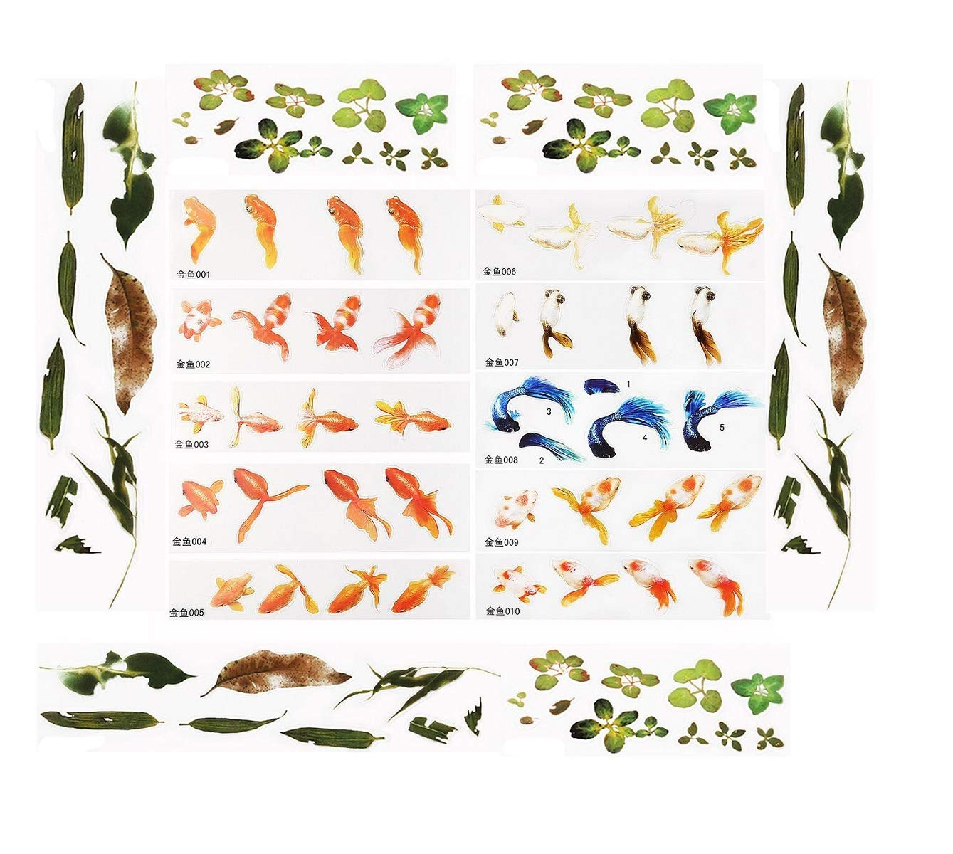 Yalulu 30 Sheets 3D Simulation Resin Decorative Sticker Micro Landscape Phone Case DIY Mold Fish Leaves Sticker Resin Jewelry Making