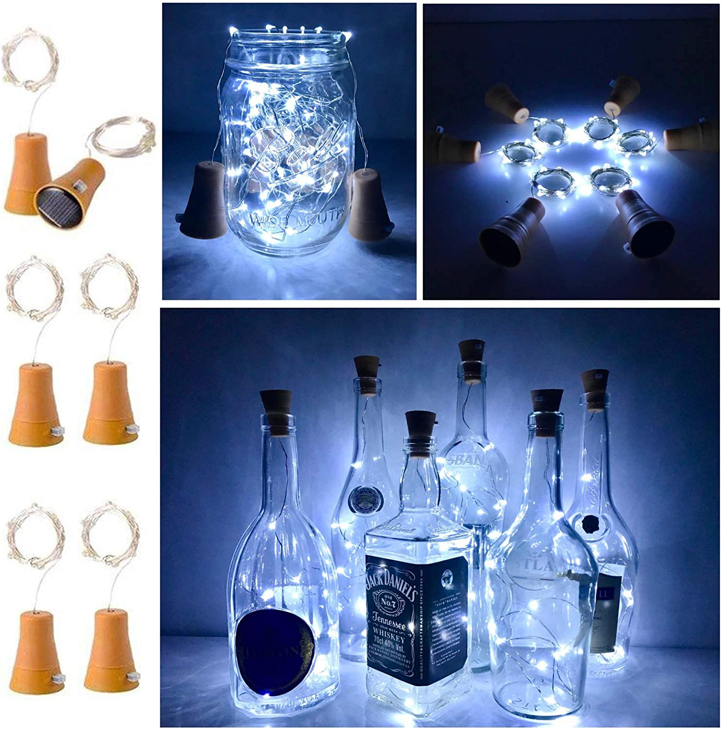 6 Pack Solar Powered Wine Bottle Lights, 20 LED Waterproof Copper Cork Solar Lights for Wedding Christmas, Outdoor, Holiday, Garden, Patio, Pathway Decor (Cool White)