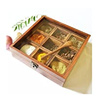The Indian Arts Wooden Spice Box with Glass on Top and Spoon(8x8x2-inch, Brown)