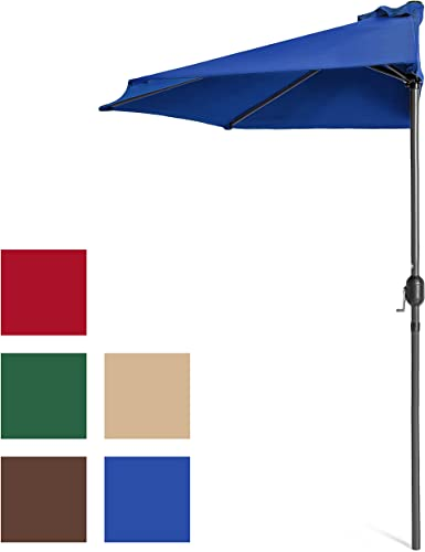Best Choice Products 9ft Steel Half Patio Umbrella w Crank Mechanism - Blue