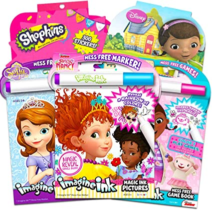 Disney Fancy Nancy Magic Ink Juego De Libros Para Colorear El Paquete Incluye 3 Libros De Tinta Junior Imagine Con Fancy Nancy Sofía La Primera Doc Mcstuffins Con Rotuladores De