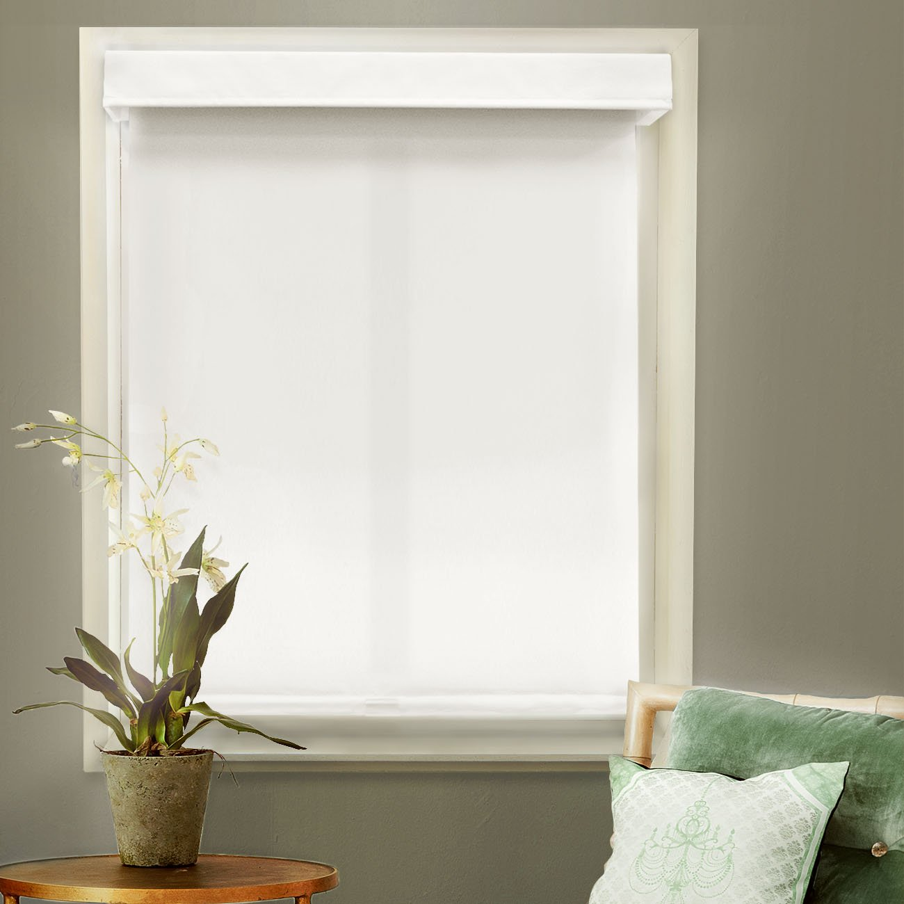 Snow white thermal fabric roman shades free shipping on orders over - Amazon Com Chicology Free Stop Cordless Roller Shades Blind Curtain Drape No Tug Thermal Room Darkening Mountain Snow 27 W X 72 H Home Kitchen